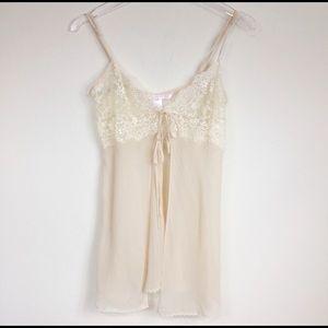 VS cream flyaway silk babydoll lingerie